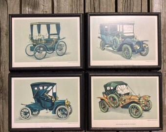 Vintage Auto Prints by Liebhaberserie, C. Lipp and Co. Munchen/ 4 Vintage Auto prints signed by DEMAMT