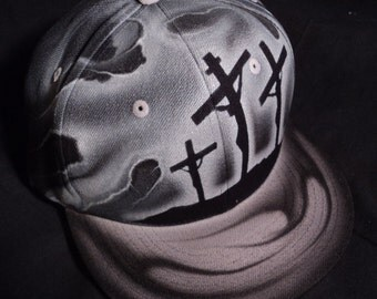 Airbrushed Jesus Cross Christian Snapback Hat Hand Painted airbrush
