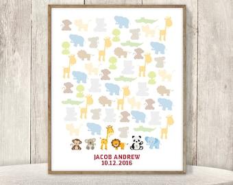 Jungle Baby Birthday Guest Book Alternative / Zoo Animals, Lion, Koala, Monkey / Unisex Safari Baby ▷ Printable File {or} Printed & Shipped