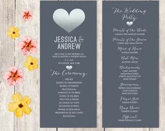 Gray Wedding Program / Faux Metallic Silver Foil / Silver Heart and Gray / Wedding Party, Schedule  ▷ Printable File {or} Printed & Shipped