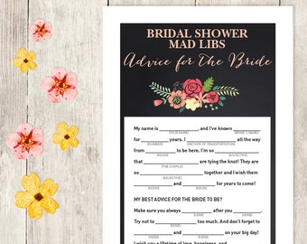 Rustic Bridal Shower Game DIY / Coral Flower, Chalkboard / Mad Libs Printable PDF / Advice for the Bride / Wedding Shower ▷ Instant Download