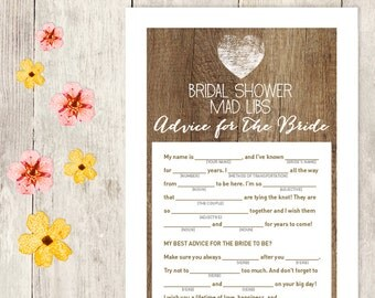 Rustic Bridal Shower Game DIY / Rustic Wood, Heart / Mad Libs Printable PDF / Advice for the Bride / Wedding Shower ▷ Instant Download
