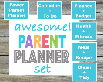 Mom Planner / Mom Binder / Dad Planner / Family Binder / Home Binder / Awesome Parent Planner Set - From the Luminous Collection - 6 Items