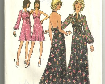 Simplicity Sewing Pattern 5561, 1970's Halter Haltar Dress, Size 10 Miss