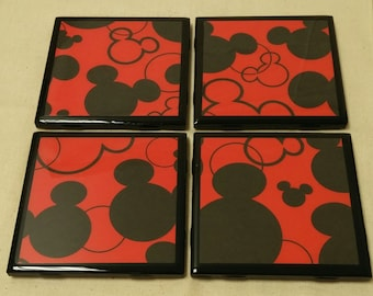 Black & Red Mickey Mouse Tile Coasters