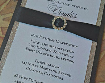 Black and Silver Birthday Invitation -- Couture Birthday Invitation -- Classy and Fabulous invitation