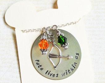 Merida Brave Inspired Handstamped Pendant Necklace Jewelry Irish Celtic Princess Forest