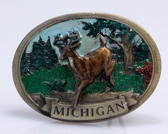Michigan Buck Brass Belt Buckle