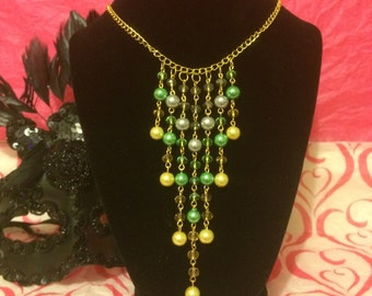 Green, Yellow and Grey Glass Pearls Necklace