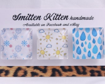 Fridge magnets- handmade, strong. Weather, sun, rain, snow, seasons design. Pack of 3 by Smitten Kitten.