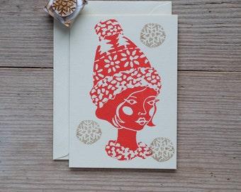 Nordic Snowflake – Handprinted greeting card.