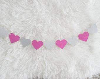 Silver + Hot Pink - Glitter Heart Garland