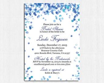 Bridal Shower Invitation, Blue Confetti Invitation, Printable Digital file, Shower Invitation, Confetti shower invitation, royal blue invite
