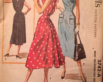 McCalls 3742 Instant Dress Size 16 Bust 36  1950's Unused Factory Folds