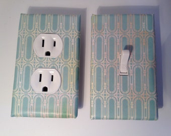 Art nouveau,aqua and white, switchplate, outlet plate, bedroom switchplate , cottage chic,decorative switch plate cover