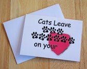Paws4Critters Cats Leave Pawprints On Your Heart Cat Greeting Note Card Photograph Photography Line Art Drawing