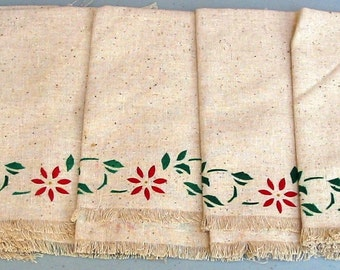 Set of Five Muslin Fabric Table Placemats with Floral Graphics and Fringe