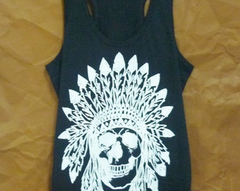 Human skull tank top Racerback tops Cotton tee Black shirt native skull t shirt S M L XL summer top/ festival clothing/ singlet/ tshirt