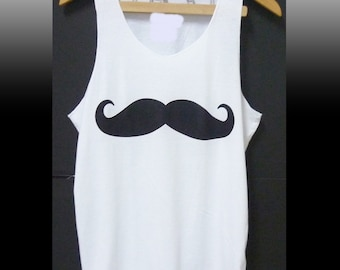 Mustache tank top funny print sleeveless shirt singlet size XS S M medium white t shirt workout clothing/ summer clothes/ apparel