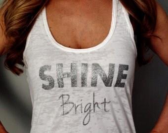 Shine Bright Running Womens Workout Tank Top. White Tank. Running Tank. Fitness shirt. Burnout Workout Tank. Fun Run. Glitter.