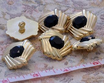 """6 buttons  blacks gold diameter 1.2"""""""