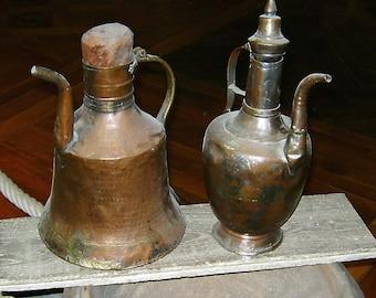 2 antique copper jugs