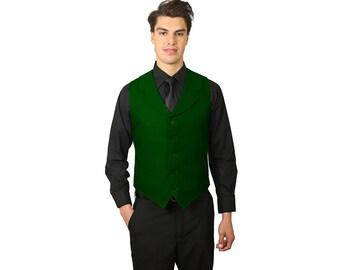 Men's Hunter Green Vest with notch lapel