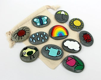 Spring Themed Story Stones / Storytelling Game / Waldorf Toy