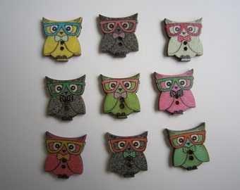 9 cute speccy owl wooden buttons