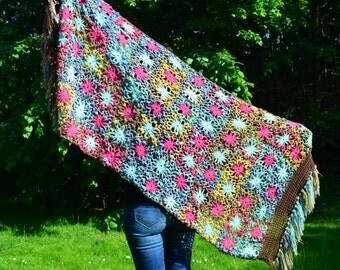 Handmade crochet large shawl,  multicolor cotton.