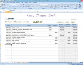 Easy Cheque Book Template. Excel Finance Spreadsheet. Money Manager Track Spend