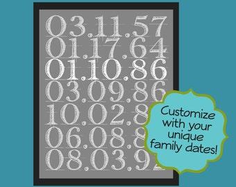 Family Date Art Birthdates Anniversary 8 x 10 Gray White Digital Printable - Custom Made PDF