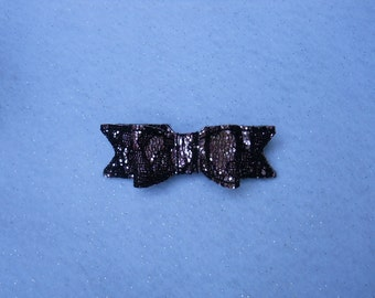 Pink and black glitter lace hair bow