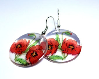 Resin  transparent earrings -  Poppy earrings - Flower earrings - Handmade earrings - Red flowers - Red earrings - Gift her - Hypoallergenic