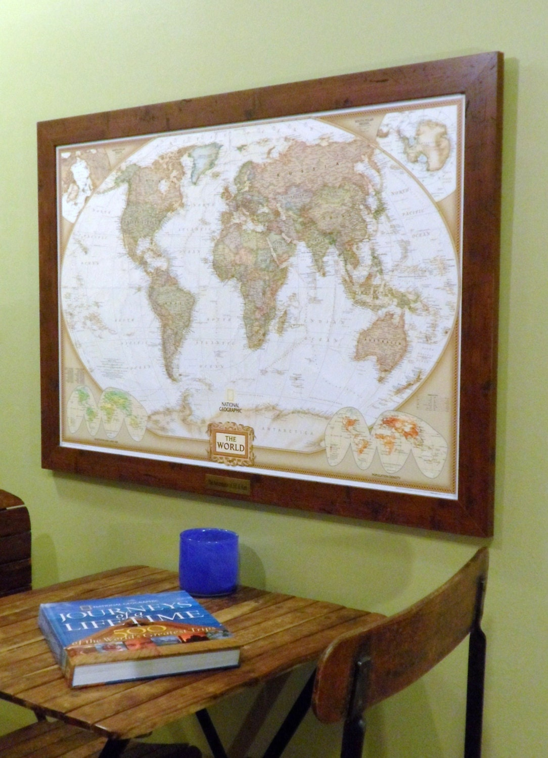 World Push Pin Map with Brass Plate
