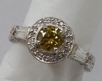 1.00 Ct. Fancy Yellow and White Diamond 18K White Gold Engagement Ring
