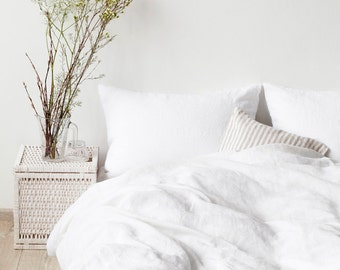 White Stone Washed Linen Duvet Cover