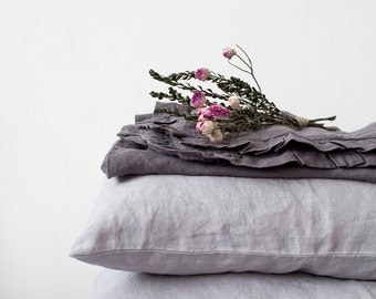 Set of 2 Light Grey Stone Washed Linen Pillow Cases
