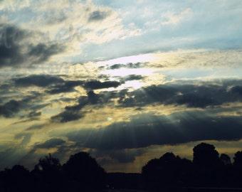 Sunrays through clouds photograph print 8x6