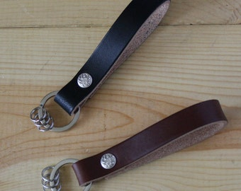 Handmade Leather Keychain Key Fob Belt Loop Holder Strap_ Stainless Steel Keyring_Made in USA_FREE SHIPPING