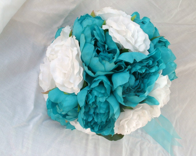 SilkTurquoise blue and white peonies bridal wedding ser bouquet 16 Pc set