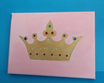 Princess Crown Wall Art Canvas Gemstones Hand Painted Girl's Room