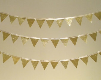 CLEARANCE 50% OFF Gold Glitter Bunting - Party, Wedding, Nursery - 1 Metre Single Strand
