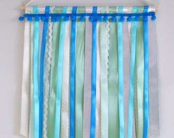 Ribbon Wall Hanging in Blue, Green and Silver - Nursery or Kid's Room Decoration
