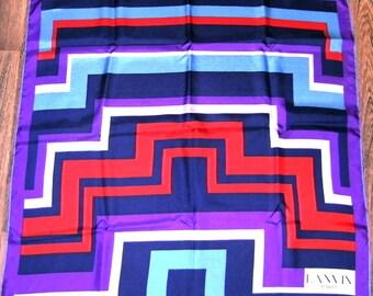 Lanvin Silk Scarf, Vintage Lanvin Scarf, French Designer Scarf, Vintage Lanvin, Lanvin Paris, Made in France Silk Scarf, Designer Scarf