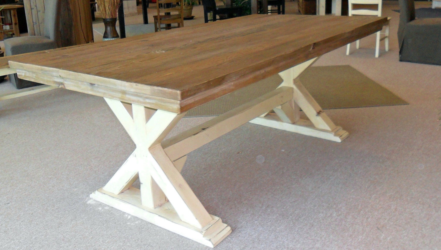 Table Dining Table Reclaimed Wood Trestle Table Rustic