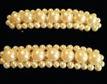 Set of Vintage Faux Pearl Barrettes