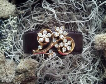 Leather and Rhinestone Cuff