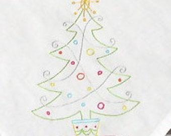 60s Christmas Tree Vintage Style Dishtowel, Teatowel