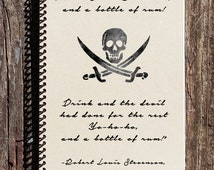 Treasure Island - Pirate Notebook - Pirate Journal - Yohoho and a Bottle of Rum - Dead Mans Chest - Pirate Gift